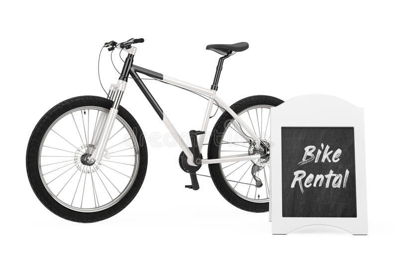 Outdoor Blackboard Bike Rental Display near Black and White Mountain Bike. 3d Rendering. Outdoor Blackboard Bike Rental Display near Black and White Mountain royalty free illustration