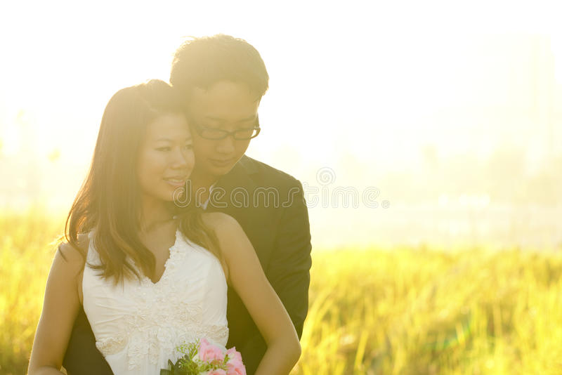 Outdoor Bride and Groom royalty free stock images
