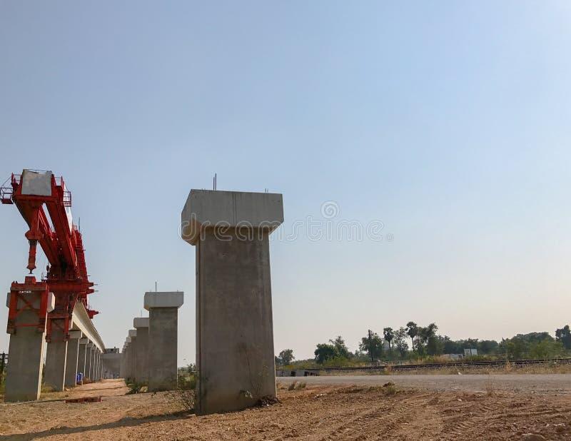 Outdoor bridge under construction site royalty free stock photo