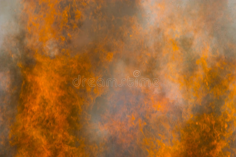 Outdoor burning fire and open flame. Black-orange background royalty free stock photos