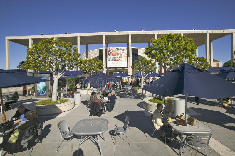 Outdoor caf� at the Dorothy Chandler Pavilion, Downtown Los Angeles, California stock image