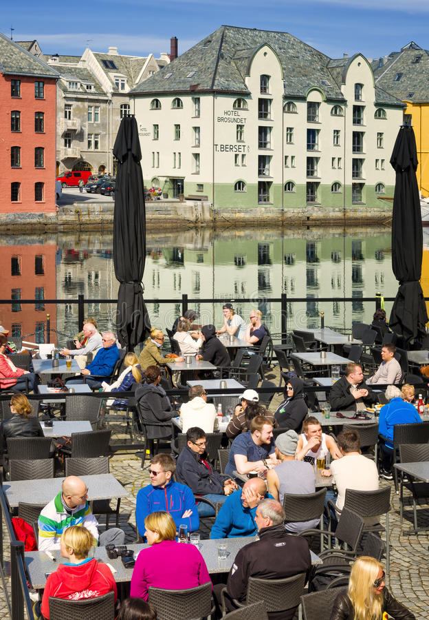 Outdoor Cafe, Colorful Buildings, Alesund, Norway stock photography