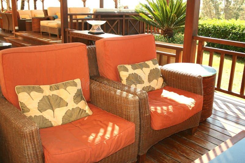Outdoor cafe interior stock photos