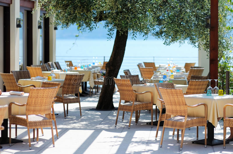 Outdoor cafe in Italy stock images