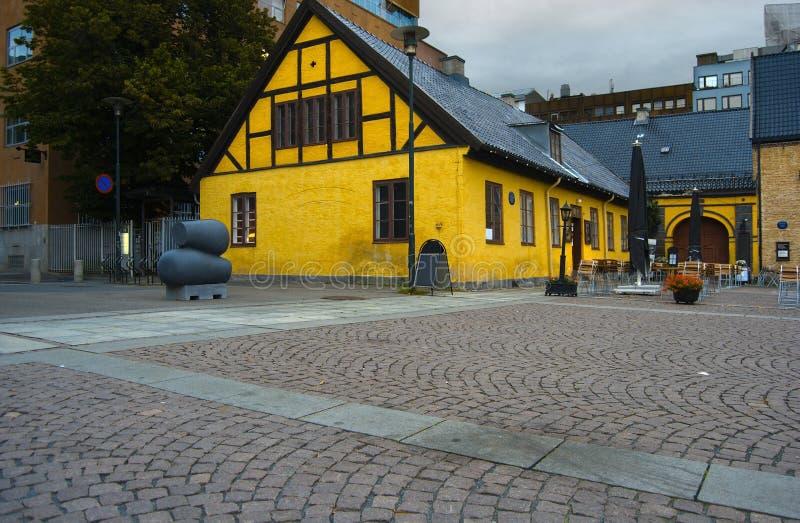 Outdoor cafe in Oslo city center stock photo