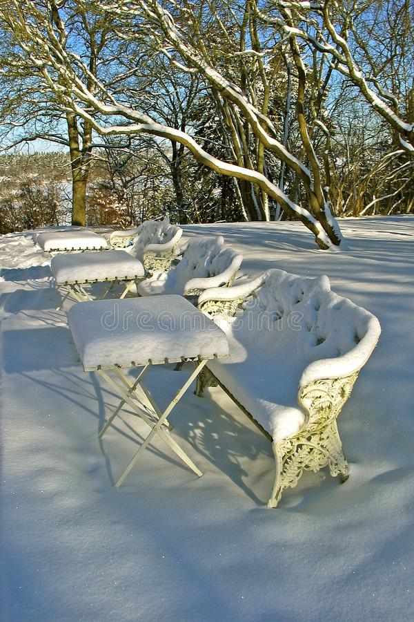 Outdoor cafe in winter stock photos