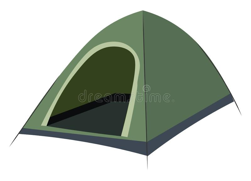 Outdoor camping tent sunshade canopy single item, vector or color illustration stock illustration