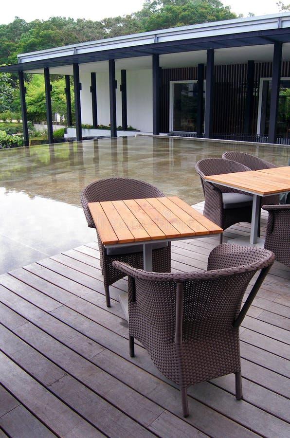 Outdoor patio cane furniture royalty free stock photos