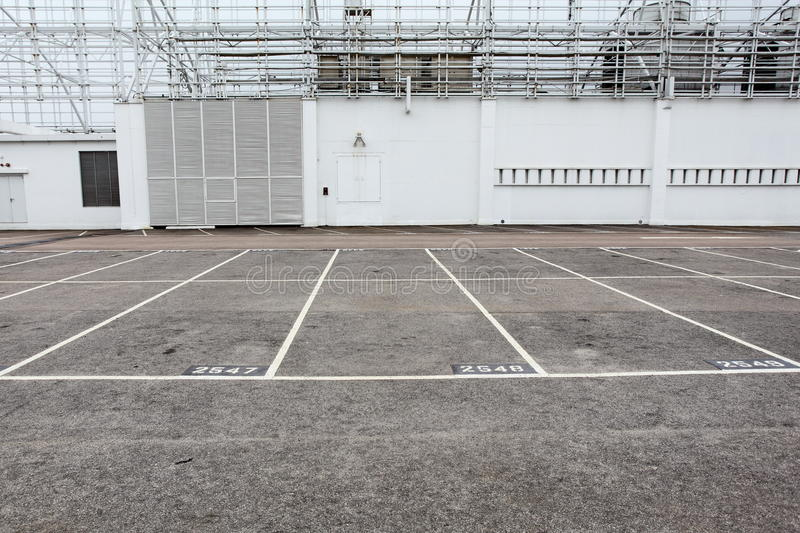 Outdoor carpark. At the top of the building royalty free stock photography