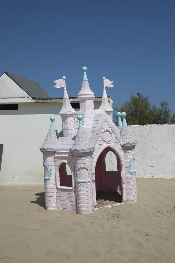 Outdoor Castle Play House. Milano Marittima, Italy -August 03, 2018 : Outdoor Palace Princess Castle Play House stock image
