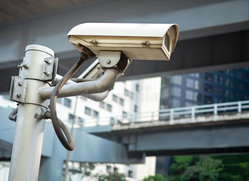 Outdoor CCTV surveillance security camera system on the pole. royalty free stock images