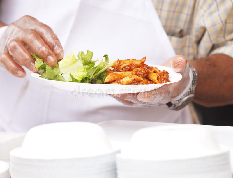 Outdoor Chef. Chef cooking food at an outdoor event stock photos