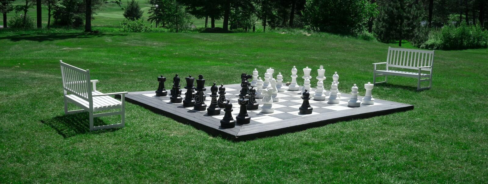 Outdoor Chess Match Stock Photography