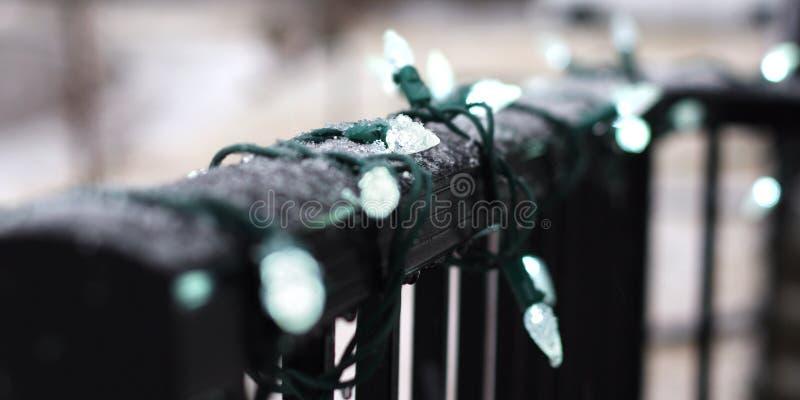 Outdoor Christmas lights with snow. Macro stock photos