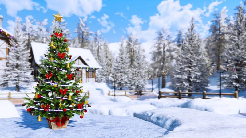 Outdoor Christmas tree blurred winter background royalty free illustration
