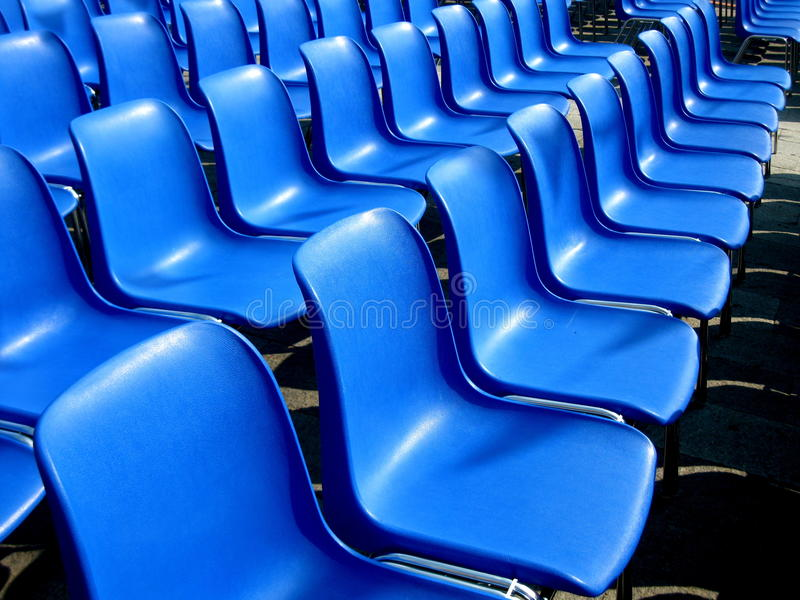 Outdoor cinema blue seats royalty free stock images
