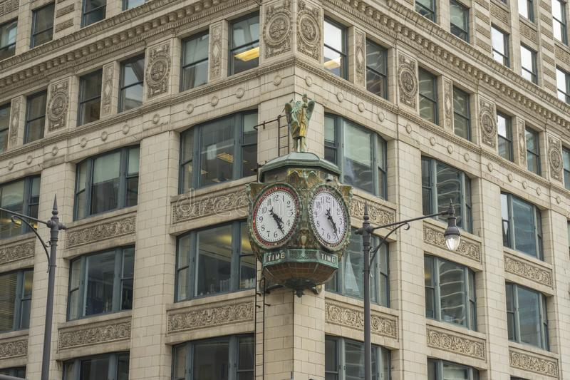 Outdoor clock at the former Marshall Fields building in Chicago stock image