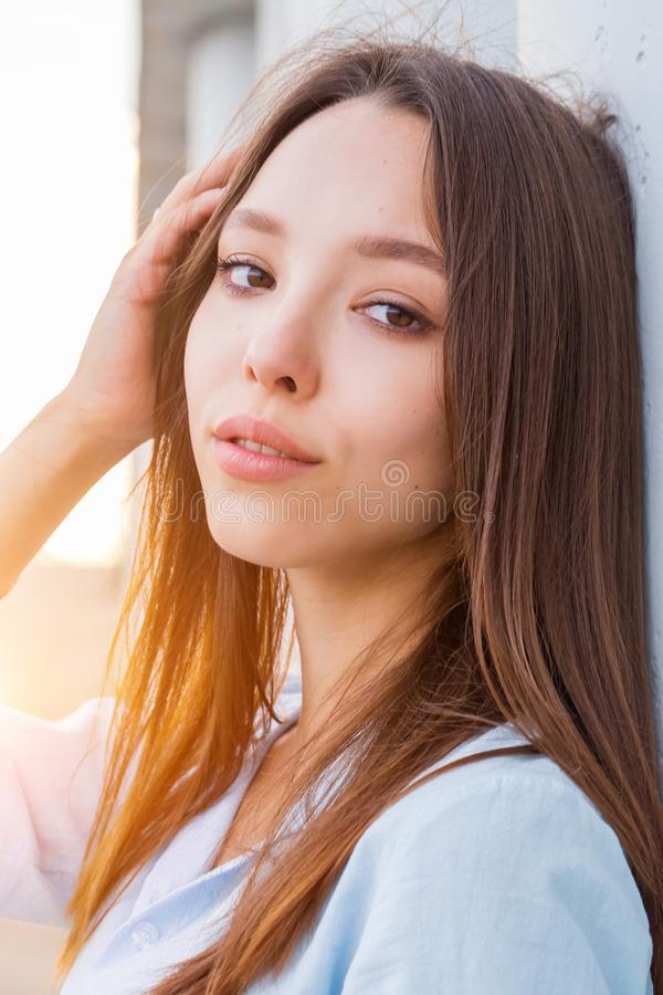 Outdoor close-up portrait of beautiful Asian girls stock photography