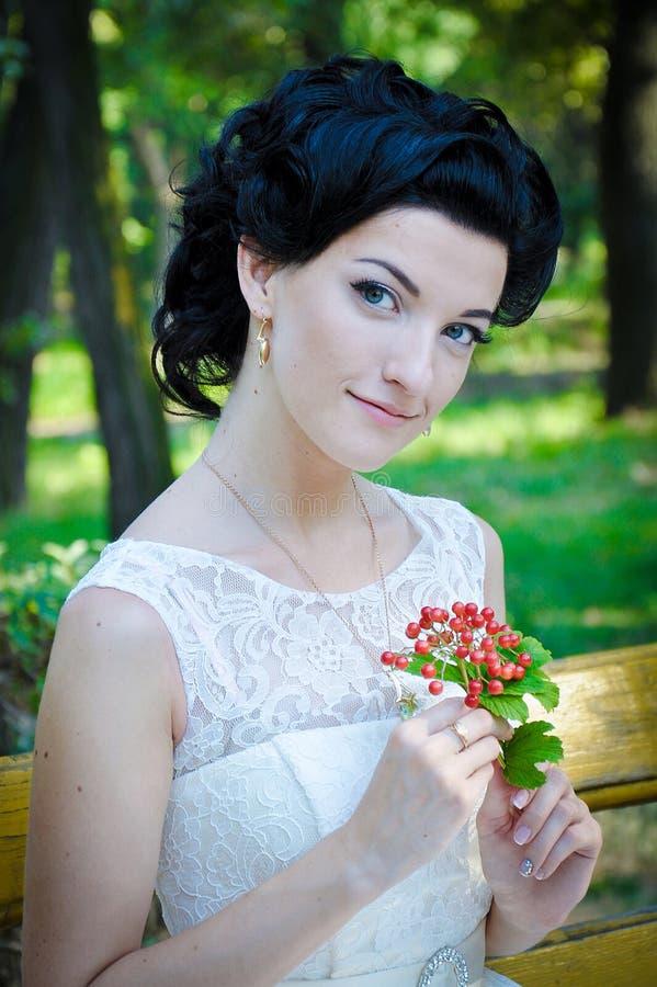 Outdoor closeup portrait of young beautiful sensual brunette women stock photos