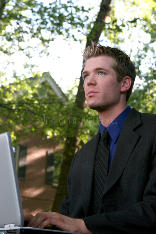 Outdoor Computer Work stock photography