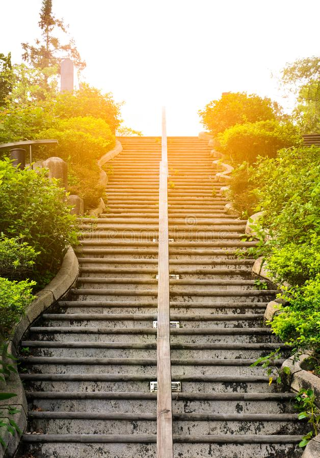 Outdoor concrete stairs and wood railing in the middle in the public park with sunset background royalty free stock photo