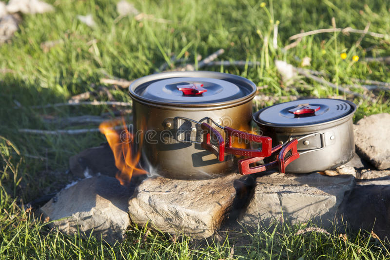 Download Outdoor Cooking stock image. Image of fires, pots, asia - 36742389