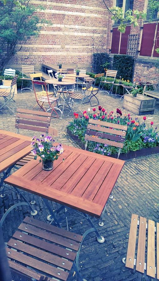 Outdoor courtyard cafe royalty free stock image