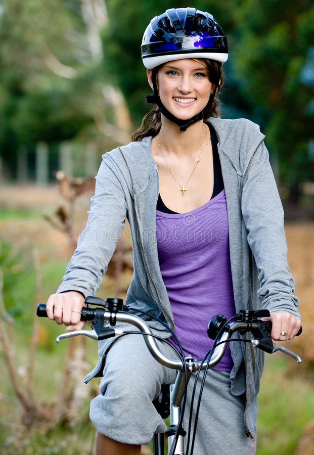 Download Outdoor Cycling stock image. Image of bicycle, grass, woman - 6401485