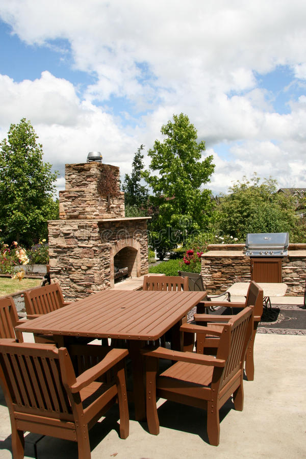 Outdoor dining and kitchen stock image