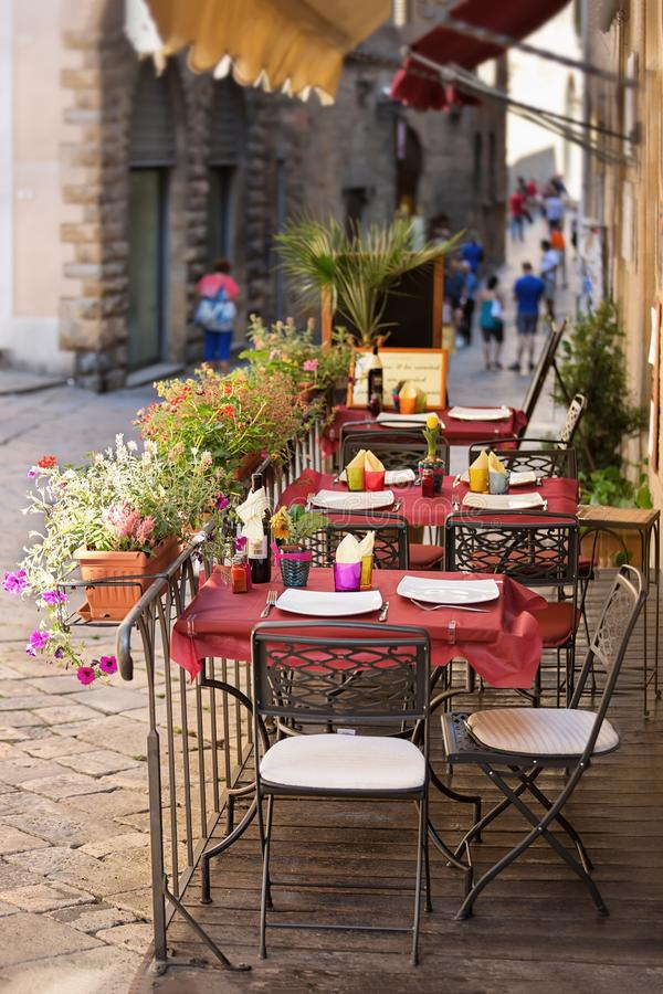 Outdoor dining nook in Tuscany. Wolterra - outdoor dining nook in Tuscany, Italy stock image