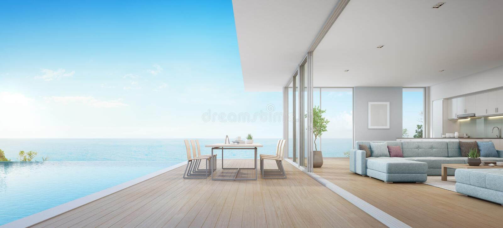 Outdoor dining and sea view living room beside kitchen of House with swimming pool in living room