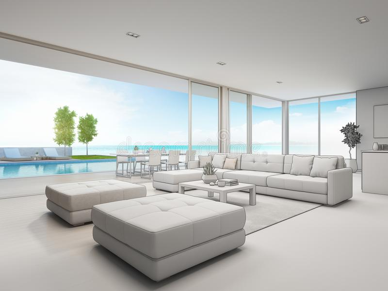 surprising dream living room pool | Sketch Of Modern House - Villa, Terrace And Garden Stock ...