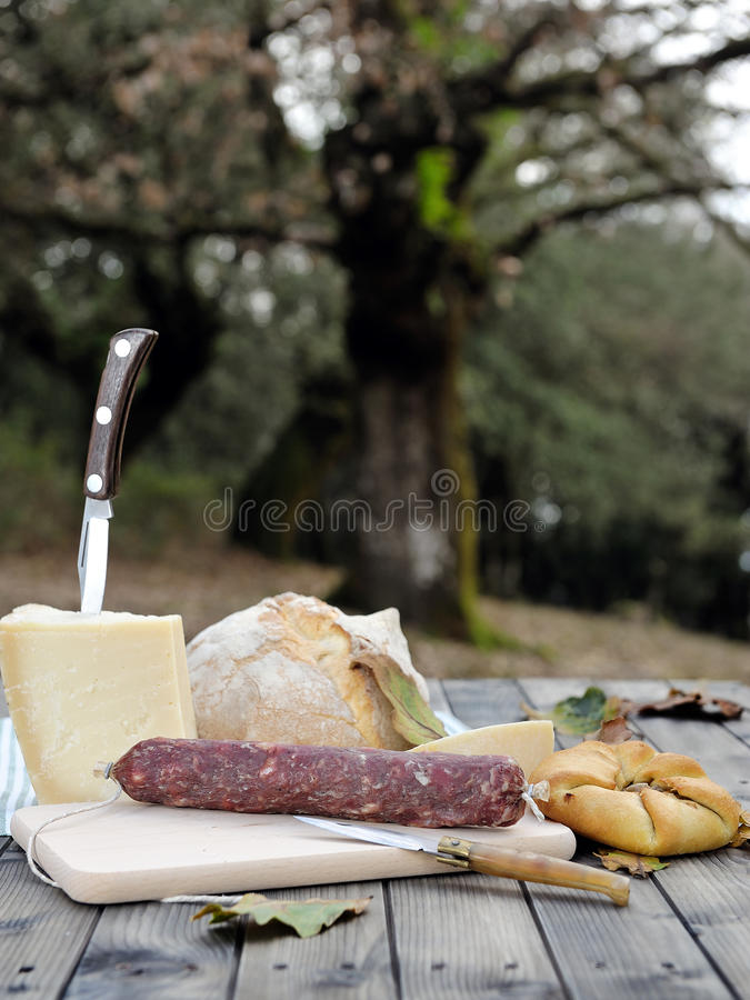 Download Outdoor Eating With Bread, Cheese And Sausage. Stock Image - Image: 83713841