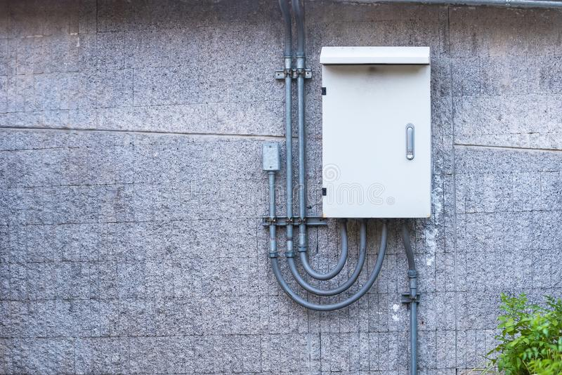 Outdoor electric control box.Thailand. Technology equipment energy power voltage industrial electricity background line electrical industry supply circuit panel stock photography