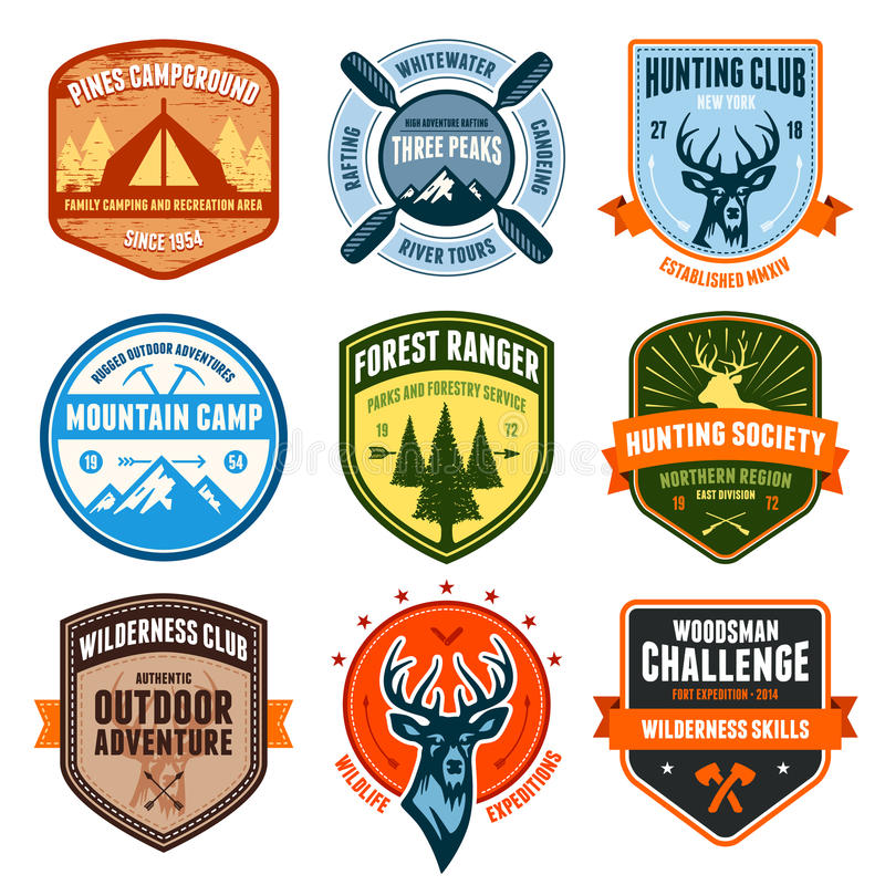 Outdoor emblems stock illustration