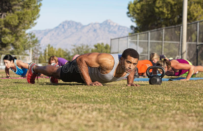 Outdoor Exercise Bootcamp royalty free stock photo