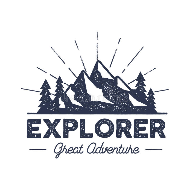 Outdoor explorer badge. Retro illustration of label. Typography and roughen style. logo with letterpress effect vector illustration