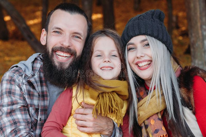 Outdoor family leisure parents daughter forest royalty free stock images