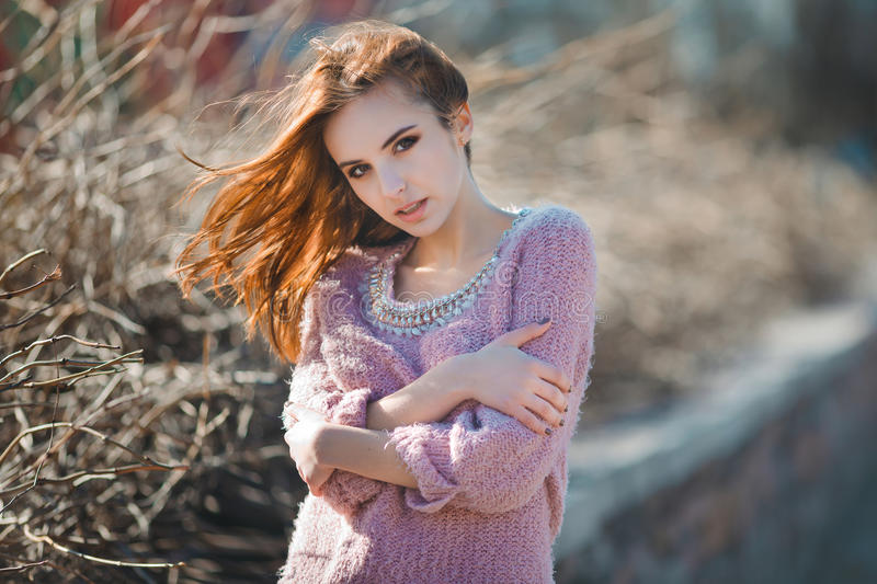 Outdoor fashion emotional portrait of glamour royalty free stock photography