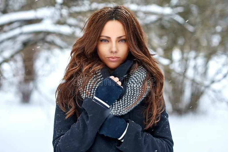 Outdoor fashion portrait of a beautiful elegant woman in winter - close up stock images