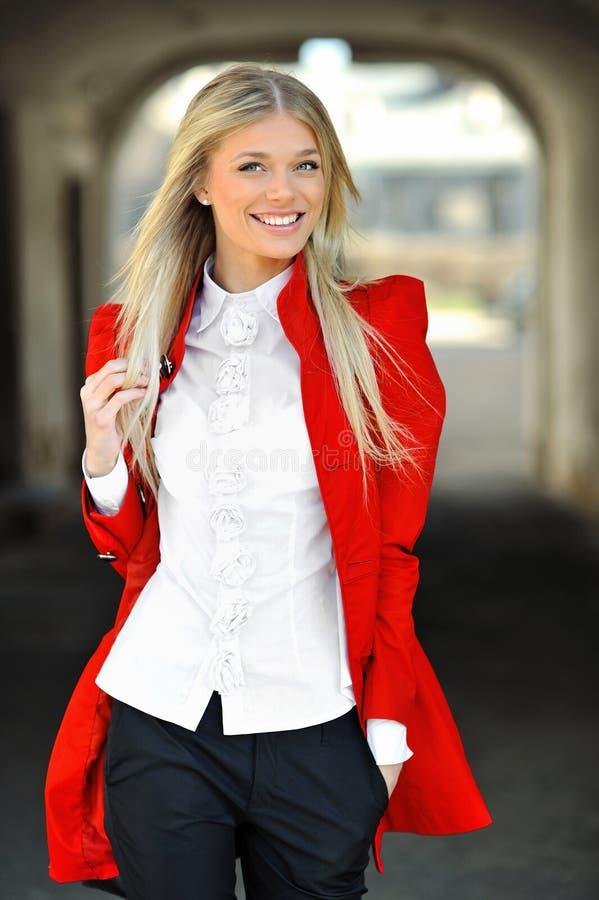 Outdoor fashion portrait of beautiful trendy women stock image