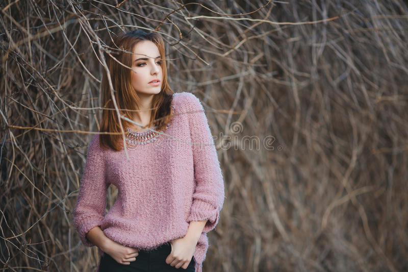 Outdoor fashion portrait of glamour sensual young stock images