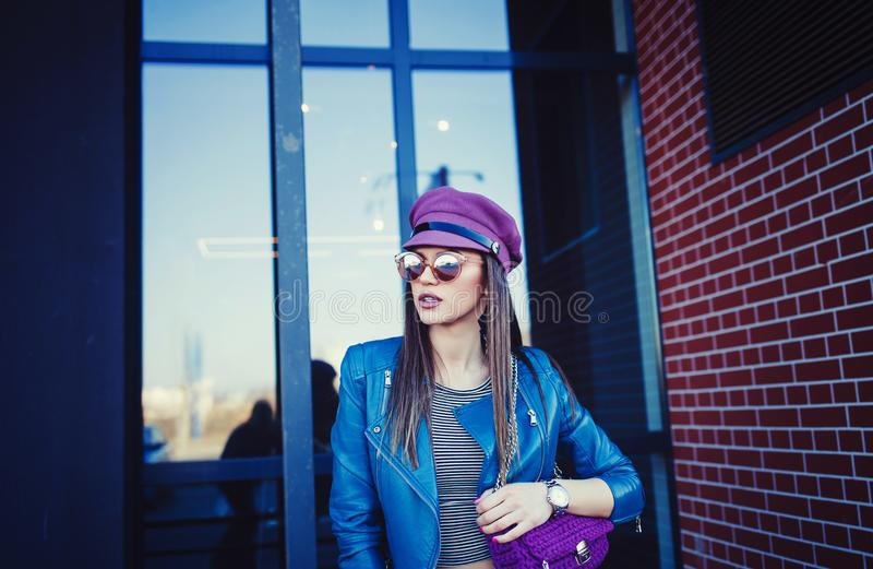 Portrait of glamour sensual young stylish lady royalty free stock photo