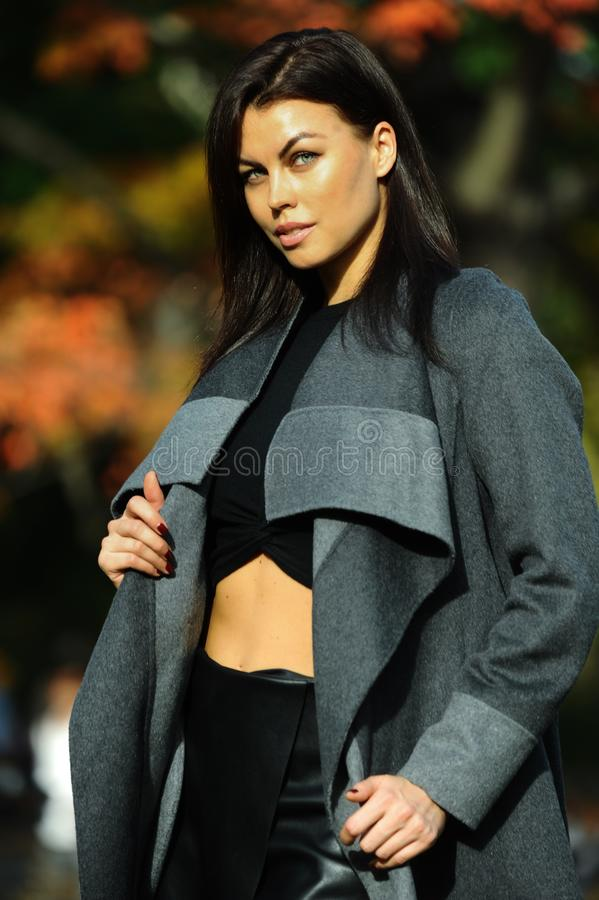 Outdoor fashion portrait of glamour sensual young stylish lady wearing trendy fall outfit. Cold season in the park stock photos