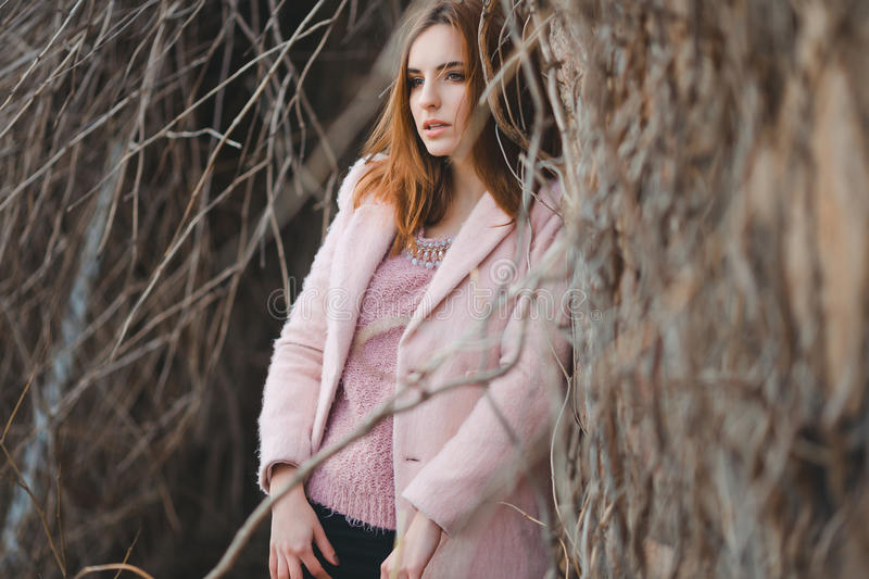 Outdoor fashion portrait of glamour sensual young stock photography