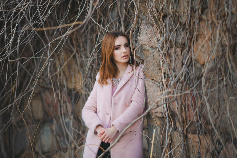 Outdoor fashion portrait of glamour sensual young royalty free stock image