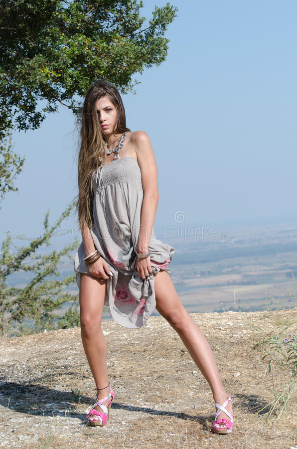 Outdoor fashion shoot stock images