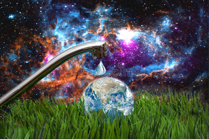 Outdoor faucet with globe concept of water conservation elements furnished by NASA. Outdoor faucet with globe in space, concept of water conservation elements stock image