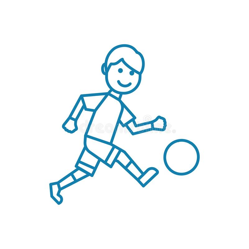 Outdoor football linear icon concept. Outdoor football line vector sign, symbol, illustration. royalty free illustration