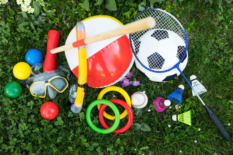 Outdoor fun equipment, topview royalty free stock photography
